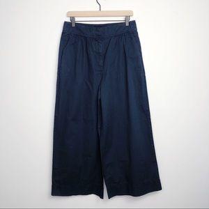 J. Crew Navy Blue Wide Leg Crop Pant Trousers 8